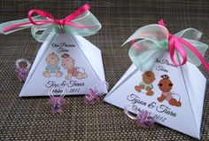 TWINS PERSONALIZED Pyramid Baby Shower Favor Box by KiddieKOVE, $2.65