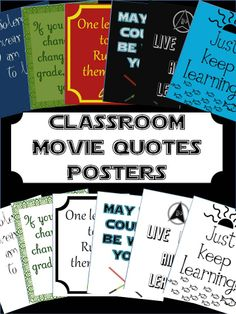 Use these posters to decorate your classroom and showcase your love of movies! Each of the SIX posters are inspired by famous movies, but tailored to the classroom. Each poster comes in a full color version AND in a simple version to save ink. Print them out or display them on your ActivBoard (or similar) and see if your students will get the reference!