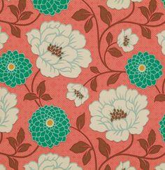 Designerstoffe USA - Joel Dewberry Bungalow Dahlia Coral Stoff - ein Designerstück von handbags-and-more bei DaWanda