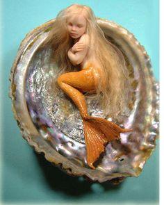 """""""goldie"""" by Patricia Rose art dolls Mermaid Fairy, Baby Fairy, Mermaid Dolls, Mermaid Sculpture, Sculpture Clay, Sculptures, Fantasy Mermaids, Mermaids And Mermen, Fairy Figurines"""