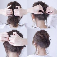 低い位置に1つに束ね、くるりんぱのようにゴムの上を分けます。 毛先を入れ込んでピンをさして留めたらルーズなおだんごヘアになります。  【POINT】 束ねた髪のトップの毛先をひっぱってルーズ感を出すことで、全体のバランスを整えます。
