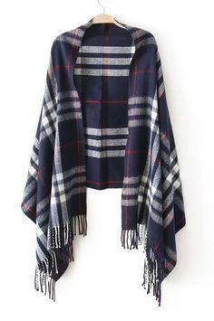 Tassels spun cashmere plaid scarf