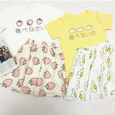 """Cute japanese egg strawberry ice cream t-shirt skirt suit Use code: """"cherry blossom"""" get 10% OFF everytime you shop at (www.sanrense.com)."""