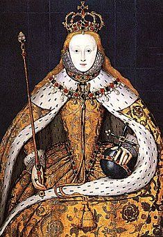 Coronation portrait of Elizabeth I. She wore her hair loose probably to prove to the masses as she rode through the streets, on her way to her coronation, that she was Henry's daughter (he was well-known for his red hair), and therefore not a bastard as had been alleged during her mother's time. She was 26, already tested by many plots, an imprisonment and threats against her life. Yet she persevered and became England's most successful and famous monarch.