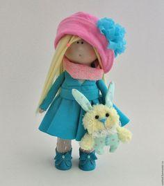 Купить Текстильная интерьерная кукла - бирюзовый, розовый, интерьерная кукла, кукла малышка, кукла в подарок