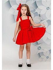 Сарафан BiBi DeLuxe.  Платье бюстье на бретелях. Вверх платья прошит на нитку-резинку бретели на кнопках что позволяет регулировать верх изделия путем перешива кнопок на нужное расстояние. Низ изделия юбка-солнце с подъюбником из хлопчатобумажной ткани с рюшами для создания пышности. Декорировано поясом для завязки бантом. Приятное на ощупь не сковывает движения обеспечивая наибольший комфорт. Отличный вариант для прогулки и праздника! Оттенок цвета изделия и цвет мелкой фурнитуры может…