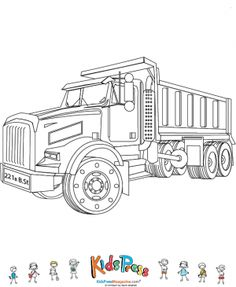 Dump trucks are endlessly fascinating to children. This coloring page features a dump truck ready to color. It is the perfect accompaniment Boy Coloring, Free Coloring, Adult Coloring, Truck Coloring Pages, Colouring Pages, Coloring Books, Big Rig Trucks, Dump Trucks, Cool Car Drawings