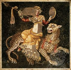Floor Mosaic -- Dionysus (Bacchus) Riding A Panther -- Greek, Hellenistic -- Century BCE -- Excavated from the 'House of Masks,' Delos, Greece. Greek History, Ancient History, Art History, Ancient Greek Art, Ancient Rome, Ancient Greece, Potnia Theron, Objets Antiques, Empire Romain