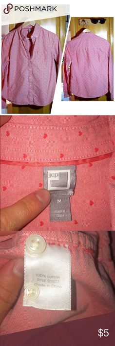 Jcp salmon shirt size M Jcp salmon shirt size M. This is the perfect shirt for a classy or casual occasion. 100% cotton. Used GOOD CONDITION  NO TRADES   jcpenney Tops Button Down Shirts