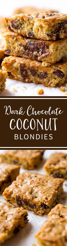 Learn what makes these blondies SO chewy! And coconut and dark chocolate for extra flavor! Recipe on sallysbakingaddiction.com