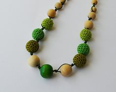 Cotton Wooden Nursing Necklace - Crochet Necklace for mom and child - Teething Necklace -  in green tones  E189