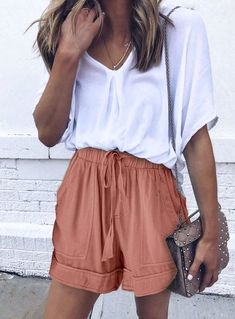 Casual Shorts Outfit, Cute Casual Outfits, Short Outfits, Fashionable Outfits, Cute Shorts Outfits, Stylish Outfits, Short Dresses, Stylish Clothes, Spring Summer Fashion