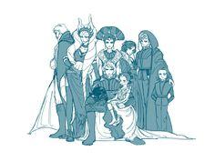 Obi-Wan, Ahsoka,Padme,Anakin, Leia, Luke, little Ben and little Rey | by mbfinix on Tumblr