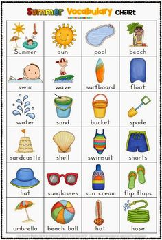 Summer Themed Vocabulary Cards with Record Sheets