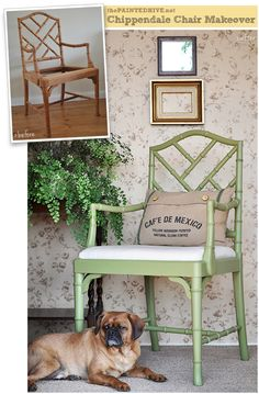 Bamboo Chippendale armchair makeover in muted green and drop cloth fabric | The Painted Hive