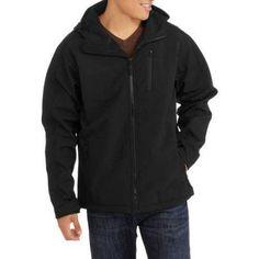 Big Men's Hooded Soft Shell Jacket, Size: 5XL, Black