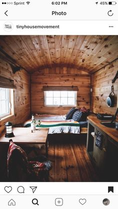 """Or """"cozy"""" if you're from the states Infact comment below where you are from Photo by Alex Jones.svd Share your cabin interiors with us : Tiny Cabins, Tiny House Cabin, Tiny House Plans, Cabin Homes, Log Homes, Small Log Cabin, Rustic Cabins, Tiny Houses, Cozy Cabin"""