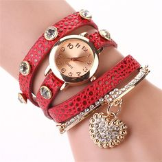 Dress Watch Wrap red leopard Watch Leather Band Watch