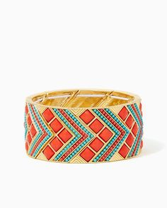 Alessia Chevron Bracelet | UPC: 410007469647 Bold Blush, Coral, COTM