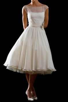 chic illusion bateau neck cap sleeve 2015 short wedding dress with flower