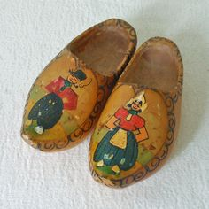 Vintage Hand Painted Wooden Dutch Child Size Clogs Shoes - my little feet actually wore these long ago!