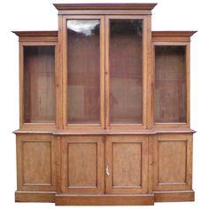 Large Oak Antique Breakfront Bookcase, UK 1840