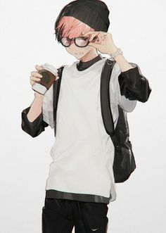 Anime Guy | Red Hair | Glasses | Hipster | Coffee | Beanie | Backpack