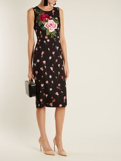 Floral-print stretch-silk charmeuse midi dress | Dolce & Gabbana | MATCHESFASHION.COM UK