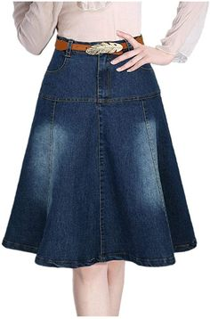 Lingswallow Women Junior High Waist A Line Casual Blue Pleated Denim Skirt Dress >>> Check out the image by visiting the link. Blouse And Skirt, Jeans Dress, Dress Skirt, Maxi Dresses, Denim Fashion, Fashion Outfits, Denim Outfit, Casual Skirts, Skirt Outfits