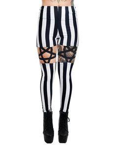 5e95c00f97204 Goth Night circus Inverted Pentagram Harness Garter strap High Waist Black  & White Stripe Leggings
