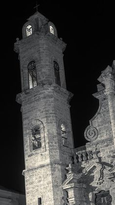 Beautiful in #blackandwhite! Havana Cathedral Tower Night Bw Art Print by Joan Carroll.  All prints are professionally printed, packaged, and shipped within 3 - 4 business days. Choose from multiple sizes and hundreds of frame and mat options. See more of my #photography from #CUBA at joan-carroll.pixels.com