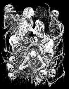 Occulte art door Mark Riddick, deze artiest is een grote inspiratie voor mij. Mijn eigen werk is erg geïnspireerd op het werk van Riddick, door de duistere aspecten, en ik gebruik ook dezelfde technieken door o.a heel veel met inkt te werken, daarom behoren de werken van Riddick tot mijn favorieten, ik zal sowieso meer van deze artiest op mijn Favorieten bord pinnen. Beeldanalyse: Monochroom kleurgebruik, een sterk zwart-wit/donker-licht contrast, en het heeft een 'griezelige sfeer'.