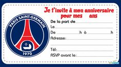 marseille olympic invitation to print Psg, Football Party Invitations, Soccer Birthday, Paris Saint, Club, Sports Logo, Chicago Cubs Logo, Logos, Cards