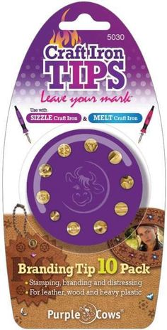 PURPLE COWS-Craft Iron Branding Tips. These interchangeable tips are great for searing; melting or burning detail into leather; ... (see details) $14.95