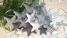 Baumschmuck: Stoff - 15 Sterne Christbaumschmuck m. Glastropfen - ein Designerstück von Dekostuebchen bei DaWanda