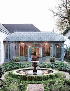 I would so love to live here...gorgeous fountain, courtyard, and atrium!