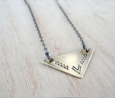 Tiny Brass Triangle Necklace  by Another Feather