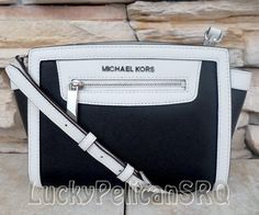 michael kors black and white purse