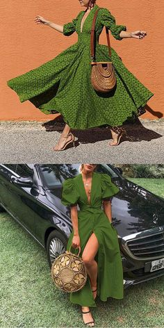 Green Dress Fashion summer dress for women, suitable for spring, summer and fall, one of your best c African Attire, African Fashion Dresses, African Wear, African Dress, Look Fashion, Fashion Outfits, Womens Fashion, Look Boho, Summer Dresses For Women