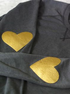 DIY Gold Heart Elbow Patches
