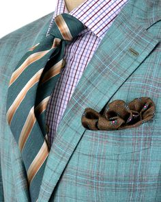 Kiton | Light Green Plaid Sportcoat | Men's Apparel | Men's Fashion | Menswear | Men's Outfit | Shop at DesignerClothingFans.com