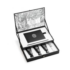 This box celebrates 50 years of fragrance creation at diptyque. It is composed of three perfumed oils in special edition bottles, an illustrated notebo Label Design, Box Design, Packaging Design, Perfume Gift Sets, Perfume Oils, Fragrance, Make Up, Makeup Products, Packaging