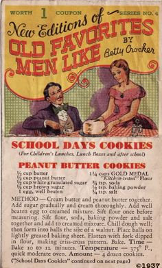 Peanut Butter Cookies from Betty Crocker circa 1937 Retro Recipes, Old Recipes, Vintage Recipes, Cookbook Recipes, Recipies, Family Recipes, Lunch Recipes, Cookie Desserts, Cookie Recipes