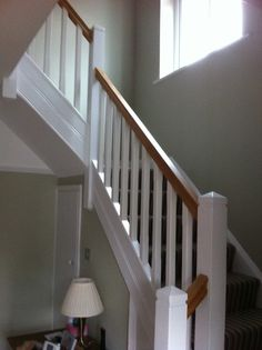 Hallway – Home Decor Designs Stairs And Hallway Ideas, Staircase Banister Ideas, White Banister, Oak Handrail, White Staircase, Staircase Handrail, Oak Stairs, House Stairs, Banisters
