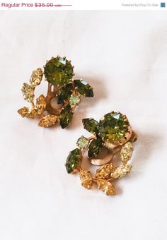 Hey, I found this really awesome Etsy listing at https://www.etsy.com/listing/226724438/green-yellow-rhinestone-wreath-earrings