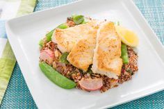 Almond-Crusted Cod with Snap Peas & Radish-Red Quinoa Salad. Visit https://www.blueapron.com/ to receive the ingredients.