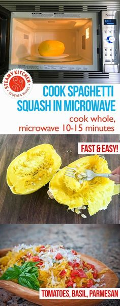 Cook spaghetti squash WHOLE in the microwave! Pierce a few times with paring knife. Microwave 10-15 minutes.   via @steamykitchen