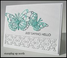 handmade card from stamping up north: Less is more challenge ... white with two aqua butterflies ... luv the lacy dies for the butterflies and the inset panel ... delightful card!!