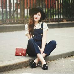 overall + liilte red bag