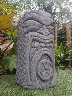 hand carved concrete tiki head garden vw logo statue .Volkswagen / camper  surf  in Garden & Patio, Garden Ornaments, Statues & Lawn Ornaments | eBay!